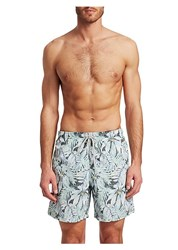 Saks Fifth Avenue Collection Palm Tree Swim Shorts Green Blue