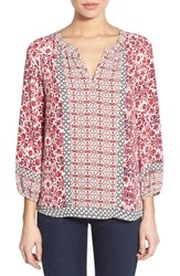 Women's Nydj Mixed Pattern Peasant Blouse Shangrila Garden Red
