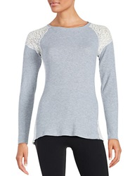 Kensie Lace And Thermal Pullover Pearl Heather Grey