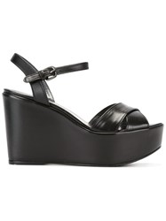 Stuart Weitzman Sundry Wedge Sandals Black