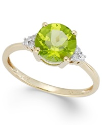 Macy's Peridot 2 Ct. T.W. And Diamond Accent Ring In 14K Gold
