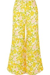 Faithfull The Brand Marise Cropped Floral Print Crepe Wide Leg Pants Yellow