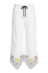 See By Chloe Cropped Cotton Pants With Embroidery White