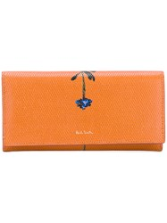 Paul Smith Flower Print Continental Wallet Women Calf Leather One Size Yellow Orange