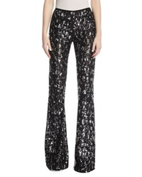 Michael Kors Sequined Leopard Tulle Flare Leg Pants Black Silver