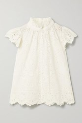 Sea Daisy Ruffled Broderie Anglaise Cotton Top White