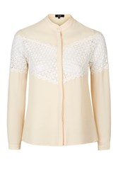 Make Amends Lace Insert Blouse By Goldie Beige