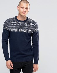 Asos Lambswool Rich Jumper With Yoke Fairisle Detail Navy