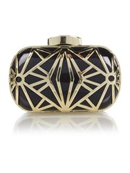 Biba Deco Box Logo Clutch Black Gold
