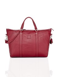 Shanghai Tang New Pebble Carryall Leather Bag Burgundy