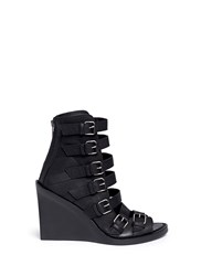 Ann Demeulemeester Buckle Leather Wedge Sandal Boots Black