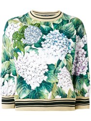 Dolce And Gabbana Floral Print Jumper Women Cotton Polyester Viscose 44 Green
