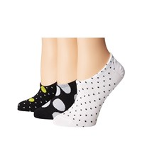 Converse Chucks Mega Polka Dot 3 Pair Pack Black White Women's No Show Socks Shoes