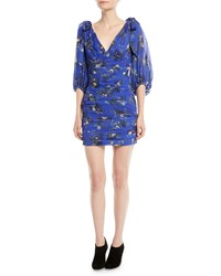Camilla And Marc Garland Ruched Mini Dress In Peony Print Medium Blue