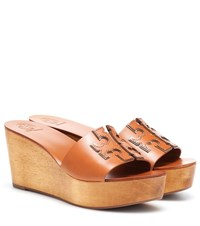 Tory Burch Ines 80Mm Leather Wedge Sandals Brown