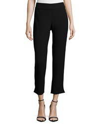 Carmen Marc Valvo Cigarette Pants W Tuxedo Piping Black