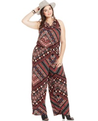 Harper And Liv Plus Size Cowl Neck Printed Jumpsuit
