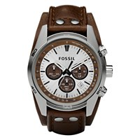 Fossil Ch2565 Men's Coachman Chronograph Leather Strap Watch Brown White