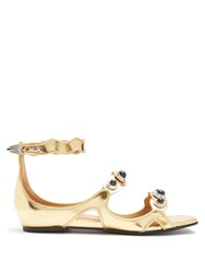 Toga Embellished Leather Sandals Gold