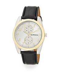 Saks Fifth Avenue Two Tone Oval Mixed Media Watch Gold Silver
