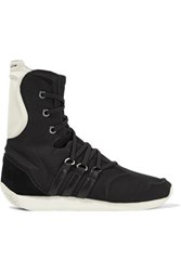 Y 3 Adidas Originals Yy Femme Suede And Leather Trimmed Canvas Ankle Boots Black