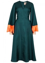 Roksanda Ilincic Henning Teal Silk Twill Dress Dark Green