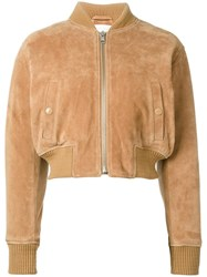 See By Chloe Cropped Bomber Jacket Nude Neutrals