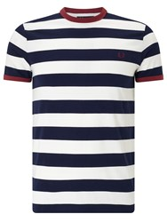 Fred Perry Sports Authentic Striped Ringer T Shirt Carbon Blue