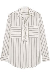 Equipment Femme Knox Lace Up Striped Cotton Shirt White
