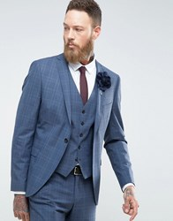 Selected Homme Skinny Wedding Suit Jacket In Blue Check Blue Nights