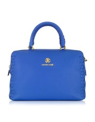 Roberto Cavalli Regina Cerulean Grained Leather Bowling Bag Blue