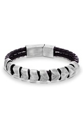 Garmin Men's Steve Madden 'Braided Scale' Leather And Metal Bracelet