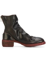 Guidi Stacked Heel Boots Leather Brown