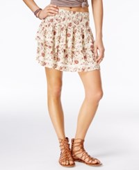 American Rag Printed Tiered Crochet Trim Skirt Only At Macy's Mahogany Combo