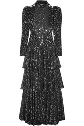 Alessandra Rich Open Back Sequined Georgette Gown Black