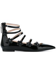 Fendi Flower Applique Ballerinas Black