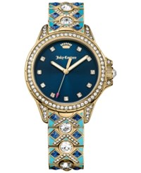 Juicy Couture Women's Malibu Patterned Stone And Crystal Gold Tone Stainless Steel Bracelet Watch 36Mm 1901403