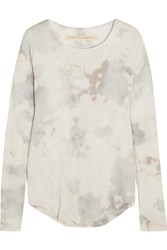 Raquel Allegra Tie Dyed Cotton Blend Jersey Top Ivory