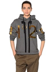 N 21 Hooded Printed Cotton Jersey Sweatshirt
