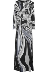 Emilio Pucci Printed Silk Maxi Dress Gray