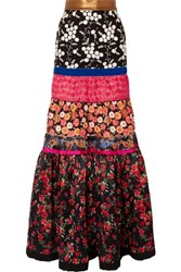 Ronald Van Der Kemp Tiered Embroidered Tulle And Floral Print Silk Satin Maxi Skirt Black