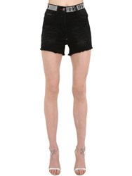 Philipp Plein Denim Shorts W Crystal Logo Waistband Black