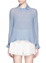 3.1 Phillip Lim Ruffle Wool Cashmere Sweater Blue