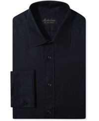Michelsons Of London Slim Fit Chevron Texture French Cuff Tuxedo Shirt Black