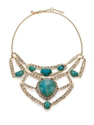 Alexis Bittar Miss Havisham Mosaic Chrysocolla And Crystal Articulated Geometric Bib Necklace Gold Turquoise
