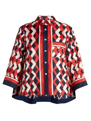 F.R.S For Restless Sleepers Artemide Geometric Print Silk Blouse Red Navy