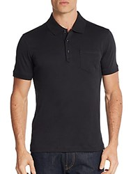 Saks Fifth Avenue Pocket Cotton Polo Shirt Black