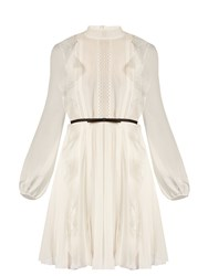 Giambattista Valli Lace Panelled Ruffled Silk Georgette Dress Ivory