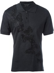 Alexander Mcqueen Butterfly Embossed Polo Shirt Grey
