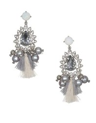 Badgley Mischka Light Grey Pearl And Crystal Chandelier Earrings Silver